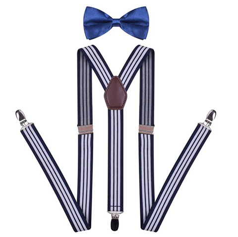 Adjustable Suspenders and Bowtie Set for Tuxedo Suspenders Pre Tied Bow Tie - BrandsForLess.CO