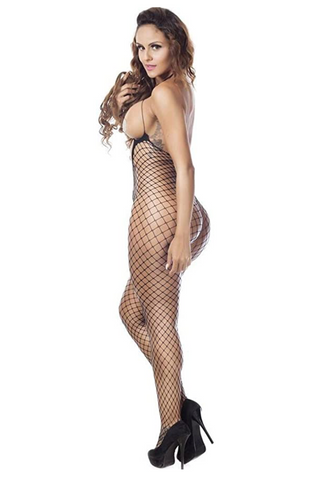 Women Sexy Fishnet Floral Crotchless Bodystocking BodysuitsLingerie Nightie (Black) - BrandsForLess.CO