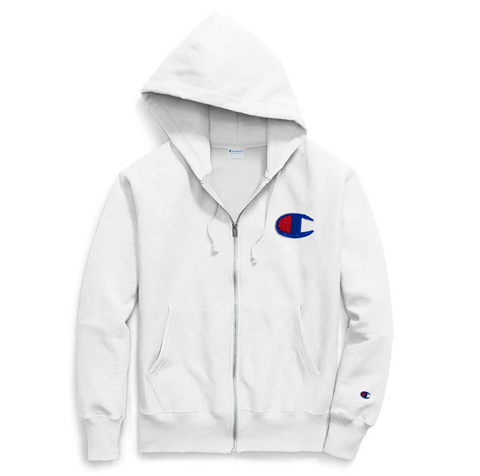 Champion Life Men Reverse Weave Full Zip Jacket, Color: White - BrandsForLess.CO