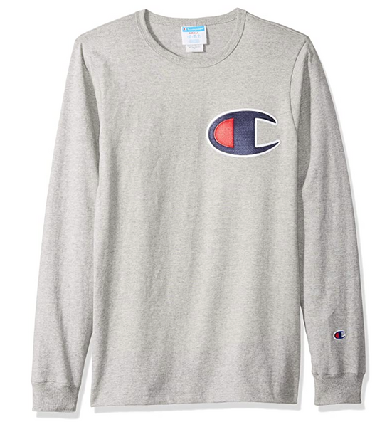 Champion LIFE Men's Heritage Long Sleeve Tee Color with C Patch in Oxford Grey - BrandsForLess.CO