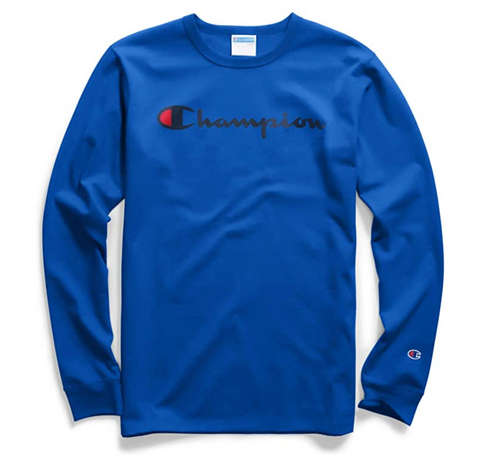 Champion Men Heritage Script Graphic Long Sleeve T-Shirt Blue - BrandsForLess.CO