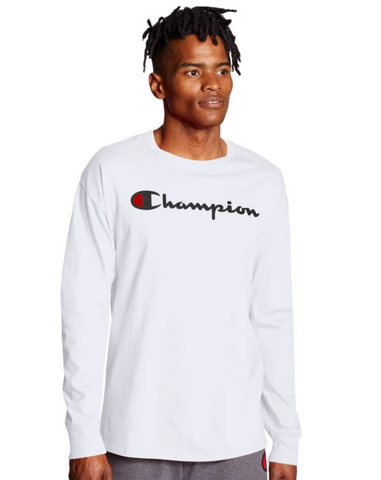 Champion Men Heritage Script Graphic Long Sleeve T-Shirt White XXL - BrandsForLess.CO