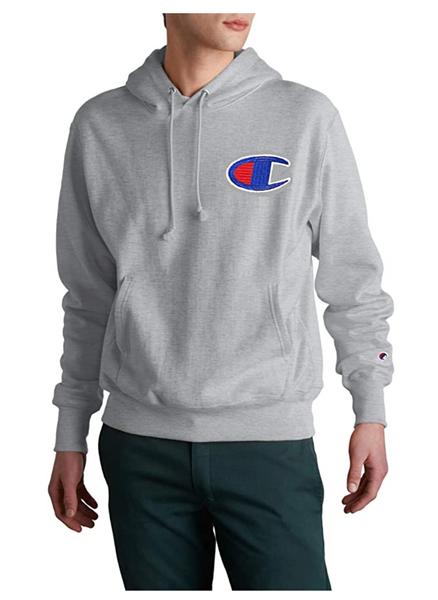 Champion Life Men's Reverse Weave Pullover Hoodie Medium, Oxford Gray/Chainstitch C Logo - BrandsForLess.CO