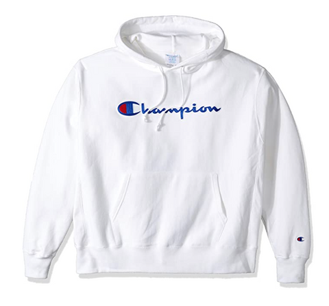 Champion Life Men Reverse Weave Pullover Hood White Chainstitch Script - BrandsForLess.CO