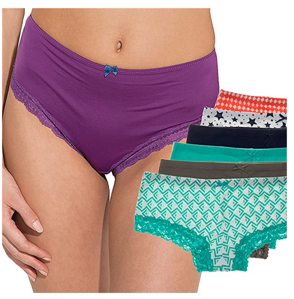 6 Pack Women Cotton Hipsters Panties Briefs With Lace Trim Sexy Underwear Lady,Prints,Large / 12-14 - BrandsForLess.CO