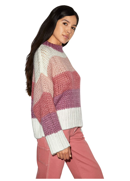 American Apparel Women Cozy Long Sleeve Mockneck Sweater Color: Sorbet Multi Stripe - BrandsForLess.CO