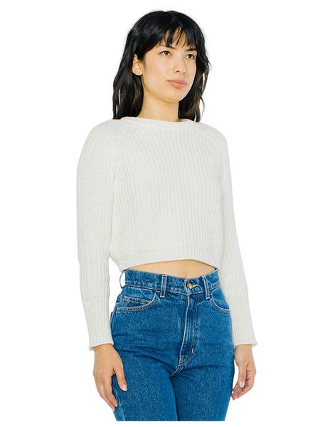 American Apparel Women Cropped Fisherman Long Sleeve Pullover Color: Ivory - BrandsForLess.CO