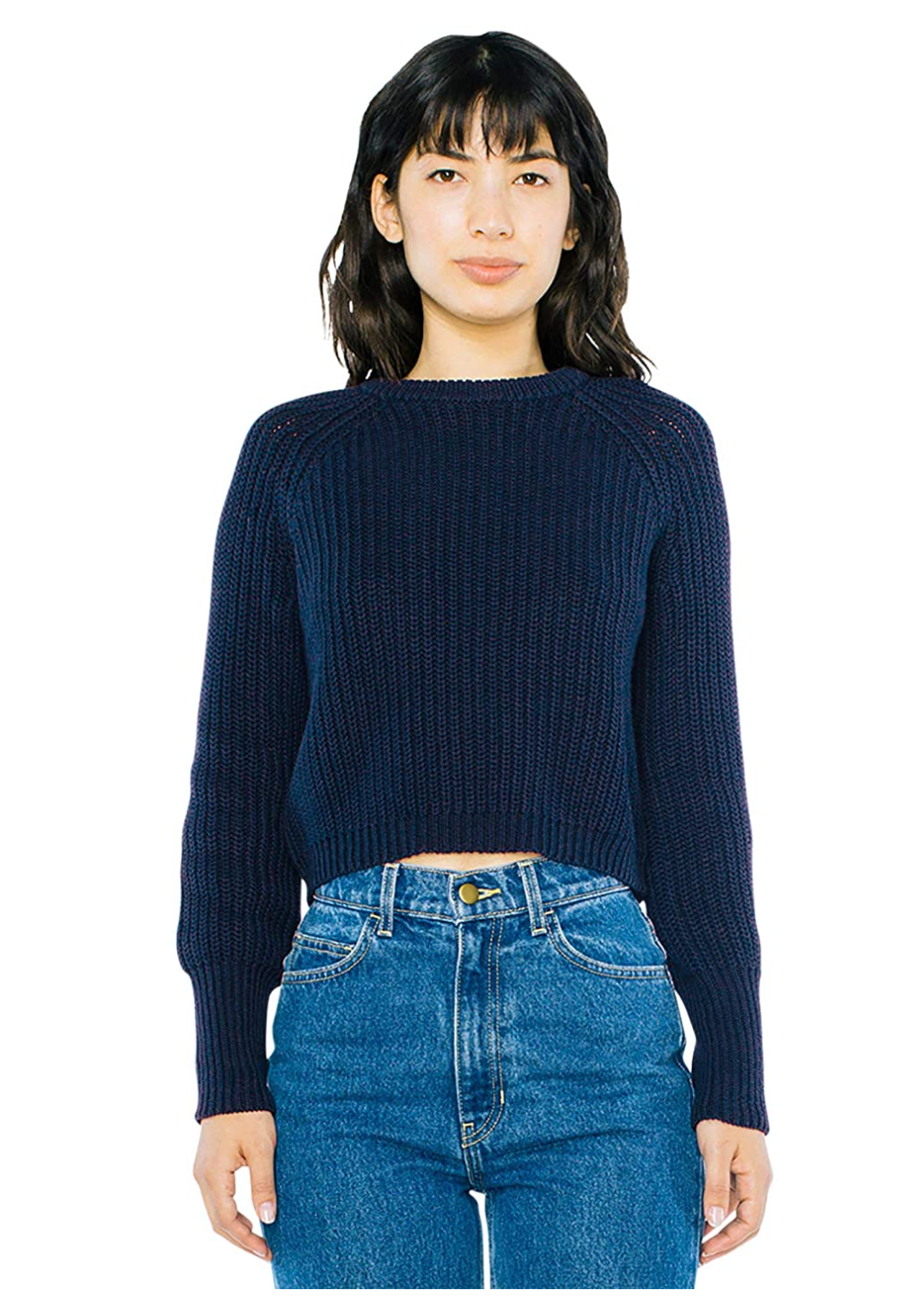 American Apparel Women Cropped Fisherman Long Sleeve Pullover Color: Navy - BrandsForLess.CO