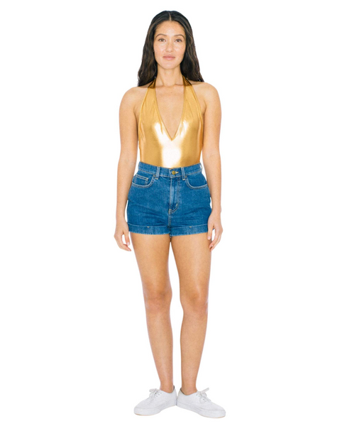 American Apparel Women Metallic Halter Sunsuit Color: Gold - BrandsForLess.CO