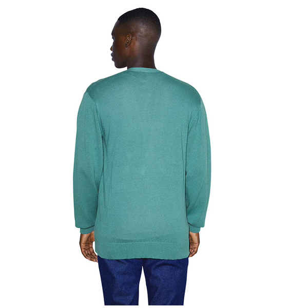 American Apparel Men Basic Knit Long Sleeve Cardigan Color: Arctic - BrandsForLess.CO