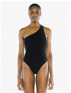 American Apparel Nylon Tricot one Shoulder One-Piece Swim, Black, X-Small - BrandsForLess.CO
