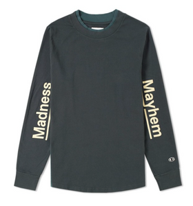 Champion by Wood Wood Long Sleeve Madness and Mayhem Tee, Green