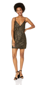 Obey Junior's Dominique Black LACE Slip Dress, Gold, Medium