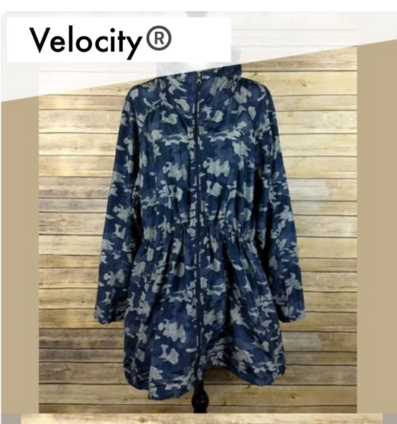 Velocity Blue Camo Windbreaker Rain Jacket X-LARGE - BrandsForLess.CO