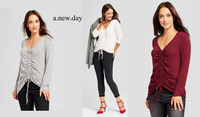 A New Day Long Sleeve Ruched Front Top - BrandsForLess.CO