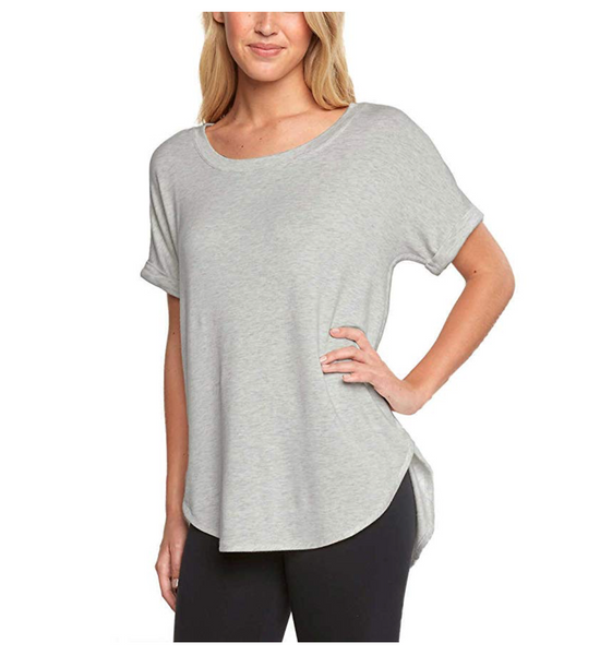 Matty M Women Short Sleeve Rolled Cuff Tunic Top Shirt - BrandsForLess.CO