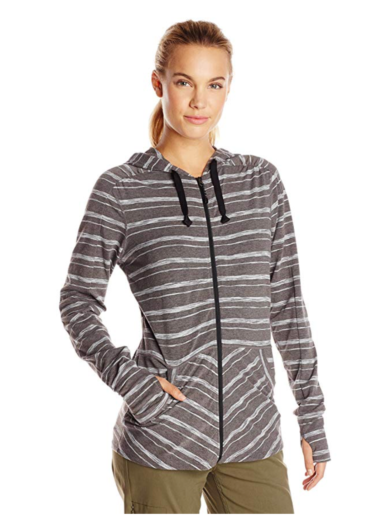 ExOfficio Women Chica Cool Stripe Hoody LARGE Color Cement - BrandsForLess.CO
