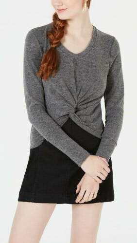XOXO Juniors Twist Front Cropped Sweater Charcoal Gray - BrandsForLess.CO