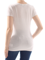 RALPH LAUREN Women Ivory Striped Short Sleeve T-Shirt - BrandsForLess.CO