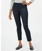TOMMY HILFIGER Womens Navy Plaid Ankle Pants - BrandsForLess.CO