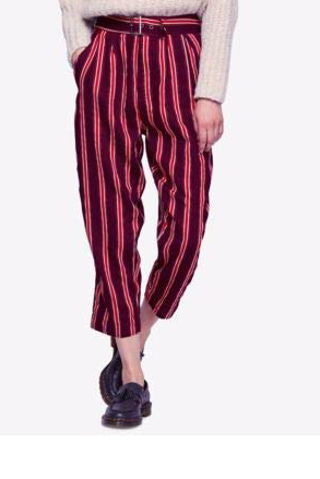 Free People Women Maroon Striped Cropped Pants - BrandsForLess.CO