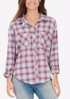 William Rast Women Maroon Plaid Casual Top S - BrandsForLess.CO