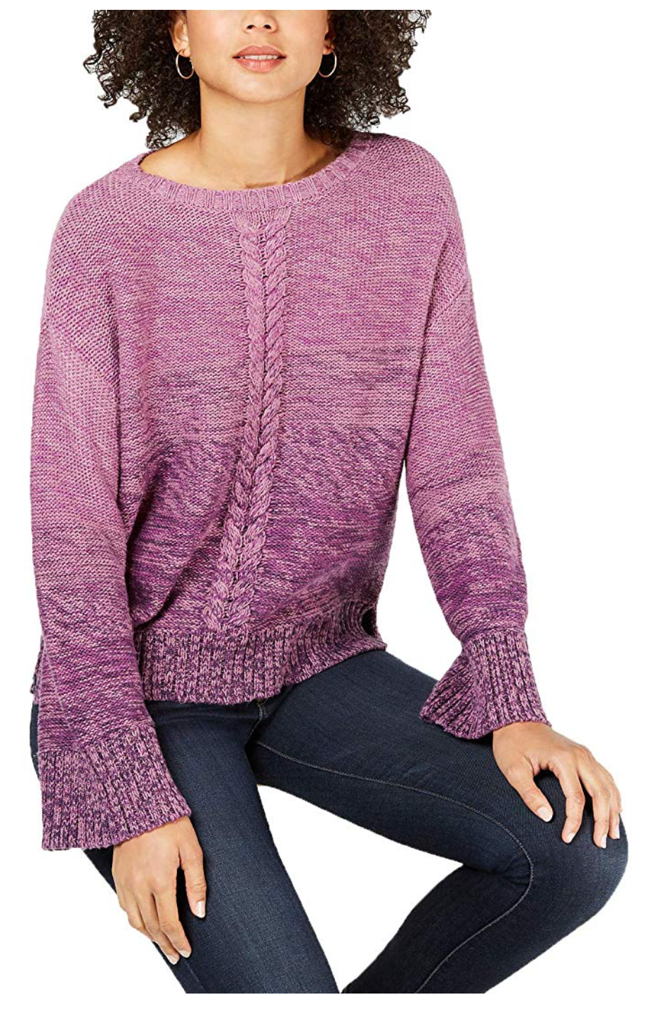 Style & Co. Women's Petite Marled Cable-Knit Sweater, Dark Grape Marl - BrandsForLess.CO