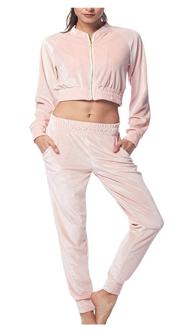 BELLEZIVA Women's Velour Tracksuit Zip up Pullover Jacket + Pant 2 Pieces Sweat Suit Set in Large - BrandsForLess.CO