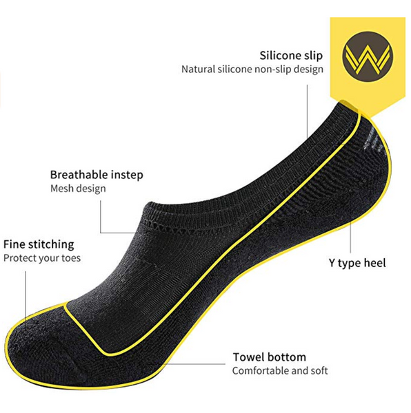 No Show Socks Thick Cushion 7 Pairs Non Slip Low Cut Invisible Socks Men Boat Liner,Shoe Size:10-12 - BrandsForLess.CO