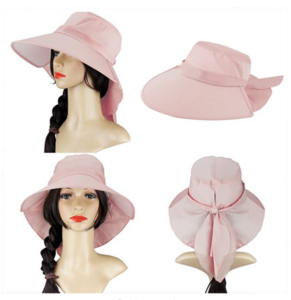 Women Sun Hat Beach Summer Flap Cover Cap Cotton Anti-UV UPF 50+ Sun Shade Hat With Bow Wide Brim Chain Strap Adjustable Hat - BrandsForLess.CO