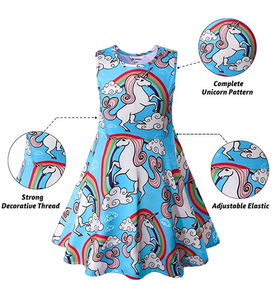"Unicorn Dress, Blue, Size: 3-4Years/Height:41"" - BrandsForLess.CO"