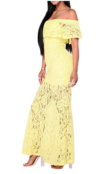 chillscreamni Lace Long Dress - Women Sexy Off Shoulder RBodycon Dress - BrandsForLess.CO