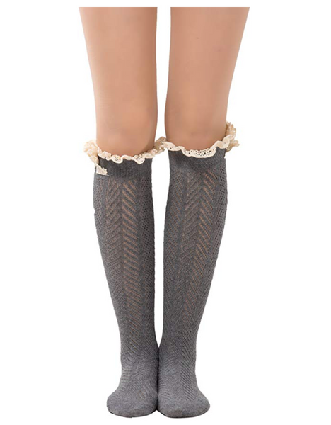 Over the Knee Antique Crochet Cable Lace and Button Thigh Thin High Boot Socks with Lace Trim Grey - BrandsForLess.CO