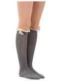 Dimore Over the Knee Antique Crochet Cable Lace and Button Thigh Thin High Boot Socks with Lace Trim Grey - BrandsForLess.CO