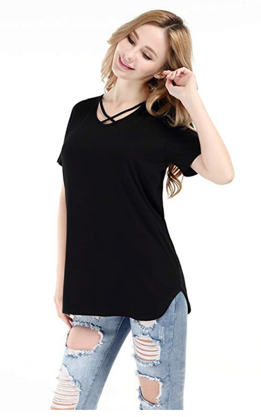 PAAZA Women Solid Criss Cross Front V-Neck Casual Short Sleeve Plain Basic Girls Sexy T-Shirt Tops - BrandsForLess.CO