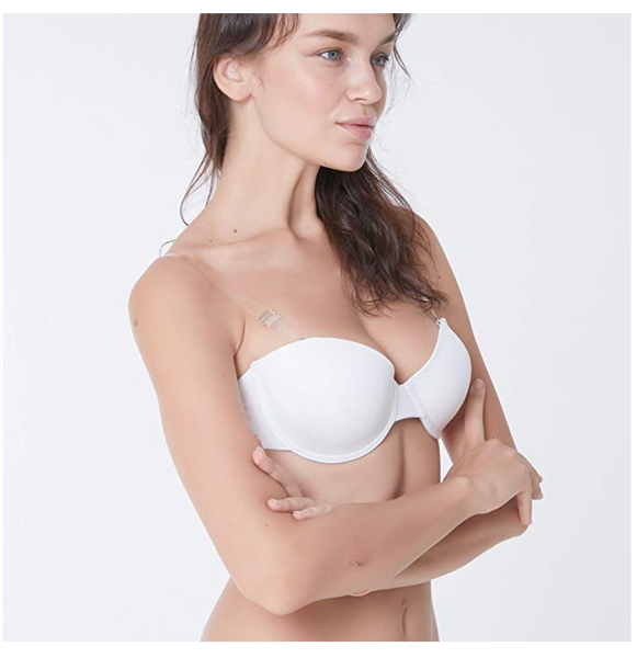 Everyday T-Shirt Bra Sexy Underwire Push up Brassiere with Adjustable Invisible Strap (White, 34B) - BrandsForLess.CO