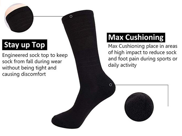 JOYNÉE 6 Pack casual business socks with soft comfort cushion for work,Size:10-13 - BrandsForLess.CO