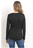 LaClef Women Maternity Round Neck Long Sleeve Nursing Breastfeeding T-Shirts Top Size Small - BrandsForLess.CO
