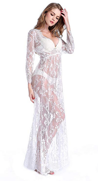 Women Sexy Long Lace Dress Deep V Lace Babydoll Nightwear (S-M) White - BrandsForLess.CO