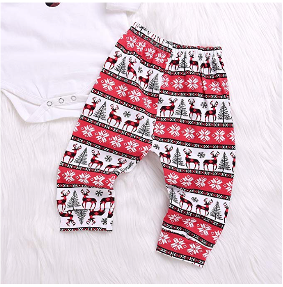 3PCs Baby Red Reindeer Print Long Sleeves Romper Headband Pant Outfit Set - BrandsForLess.CO