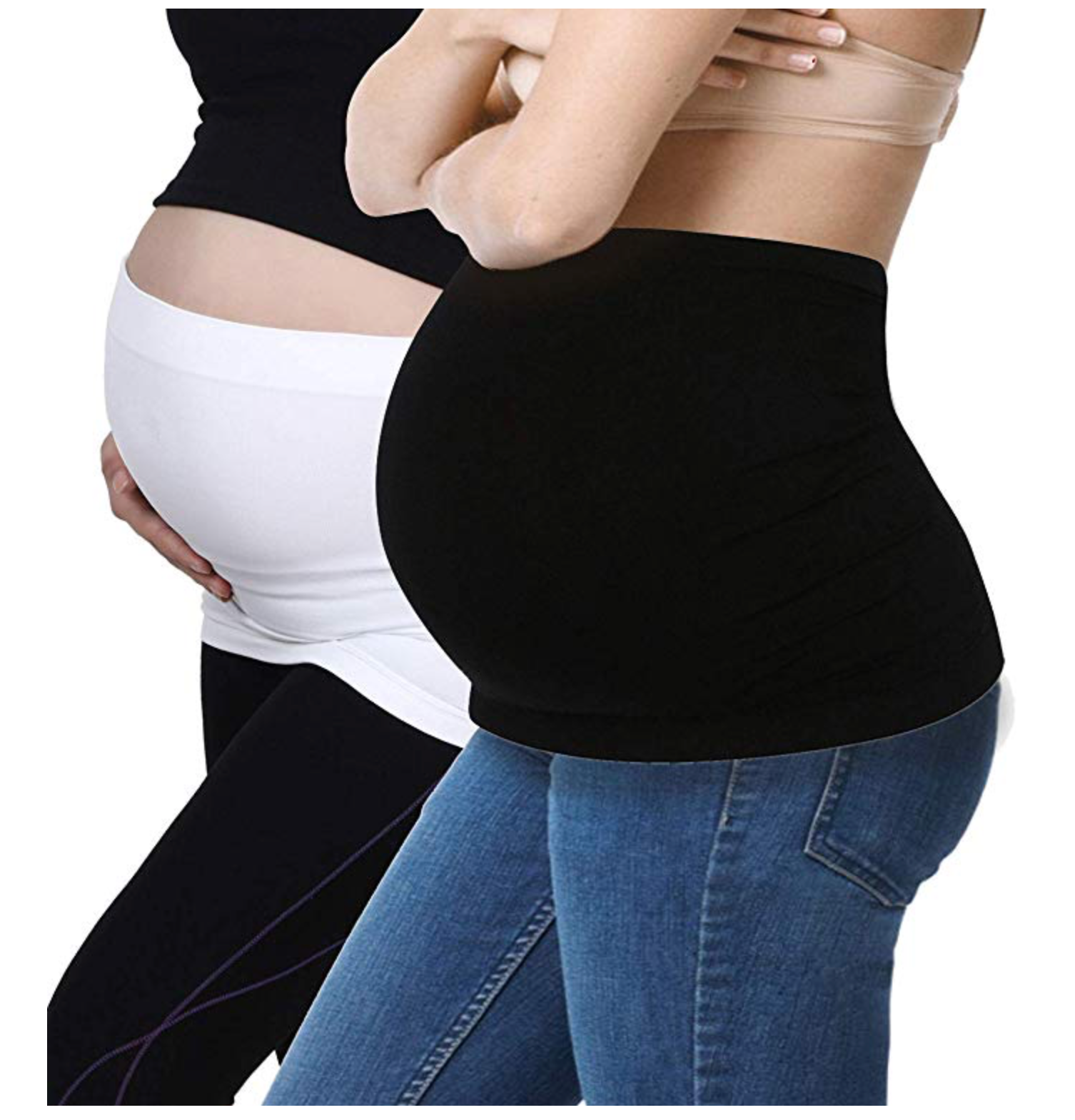 Maternity Belly Band Seamless Support Bands for Pregnancy 2 Pack White/Black L - BrandsForLess.CO