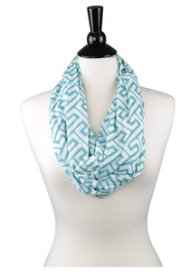 Shop Pop Fashion - Women Infinity Scarf with Zipper Pocket, Geometric Pattern Scarf for Women (Greek Key - Teal) - BrandsForLess.CO