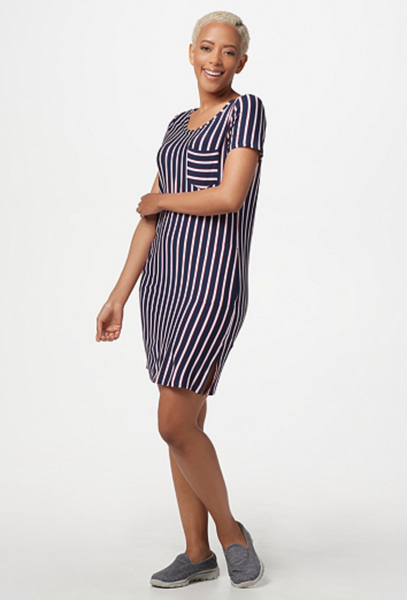 Skechers Apparel Short-Sleeved Striped Renewal Dress - BrandsForLess.CO