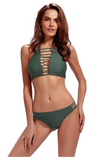 Women Bathing Suit 2 Piece Halter Bikini Set Padding Tankini Swimsuit - BrandsForLess.CO