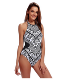 Women Bathing Suit Halter High Neck One Piece Swimsuit Backless Swimwear - BrandsForLess.CO