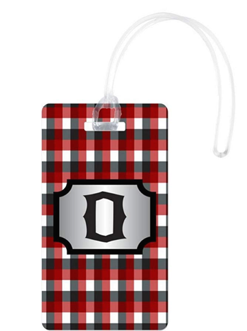 Rikki Knight Initial Brgdy Plaid Monogrammed Flexi White - BrandsForLess.CO
