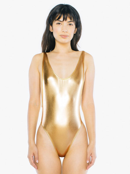 American Apparel Women Blouse Gold Metallic Sunsuit - BrandsForLess.CO