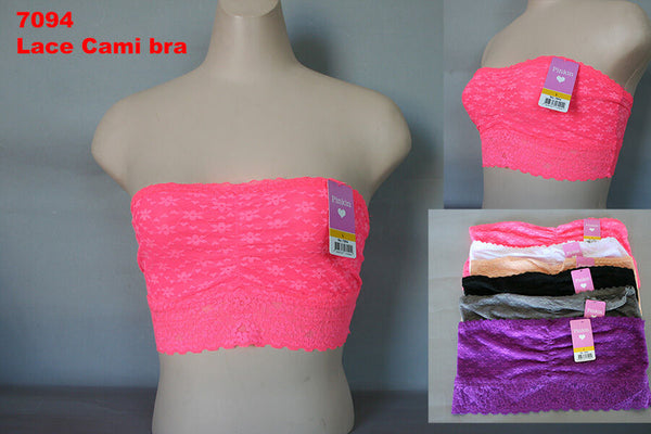 Pinkin's 6 Pack Lace Tube Top Bandeau(Small) - BrandsForLess.CO