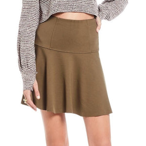 Free People Women Army Green Highlands Drop Waist Elastic Waist Mini Skirt - BrandsForLess.CO