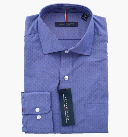 Tommy Hilfiger Men Regular Fit Spread Collar Long Sleeve Dress Shirt - BrandsForLess.CO